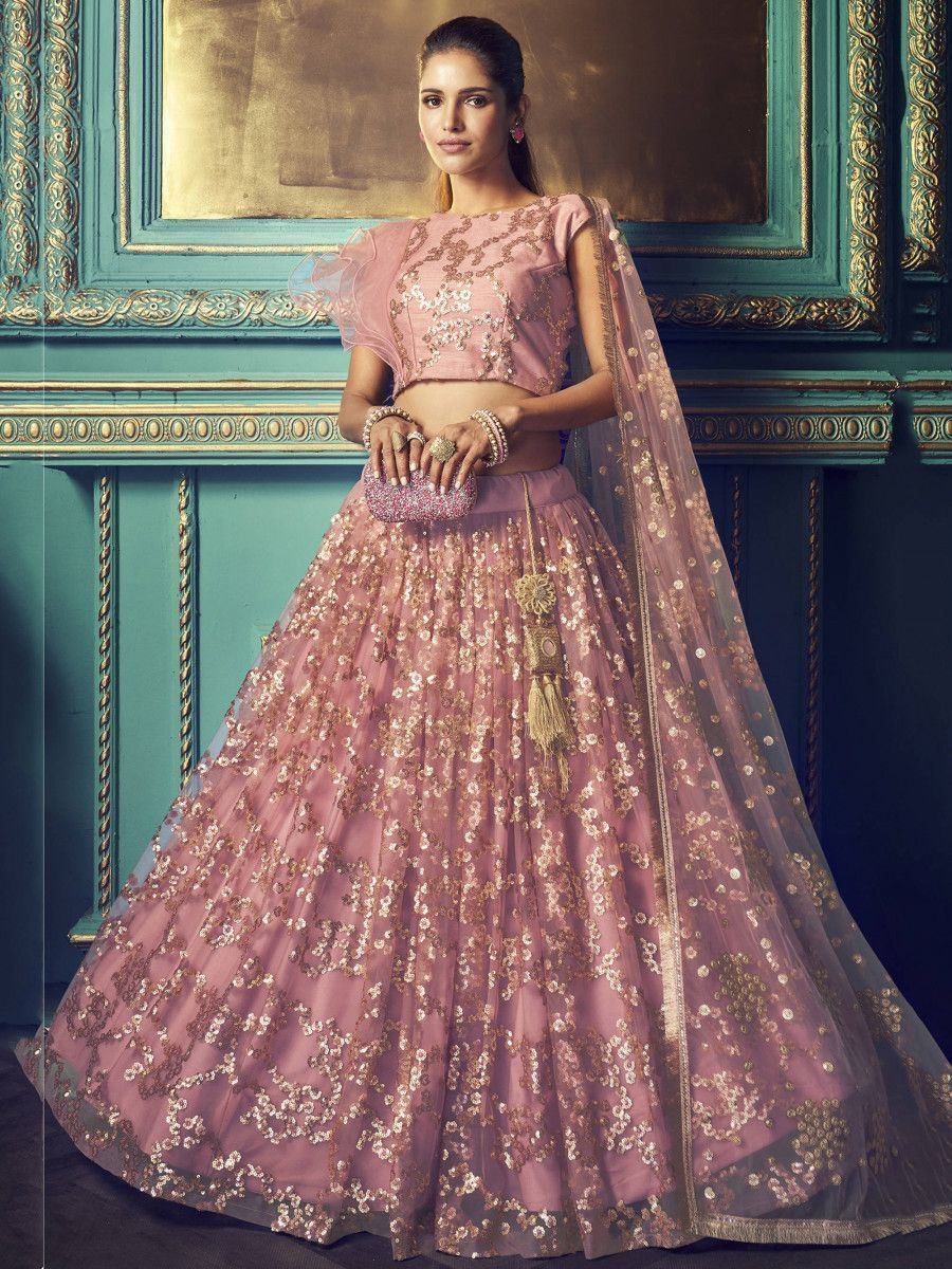 Light Purple Sequins Soft Net Wedding Wear Lehenga Choli