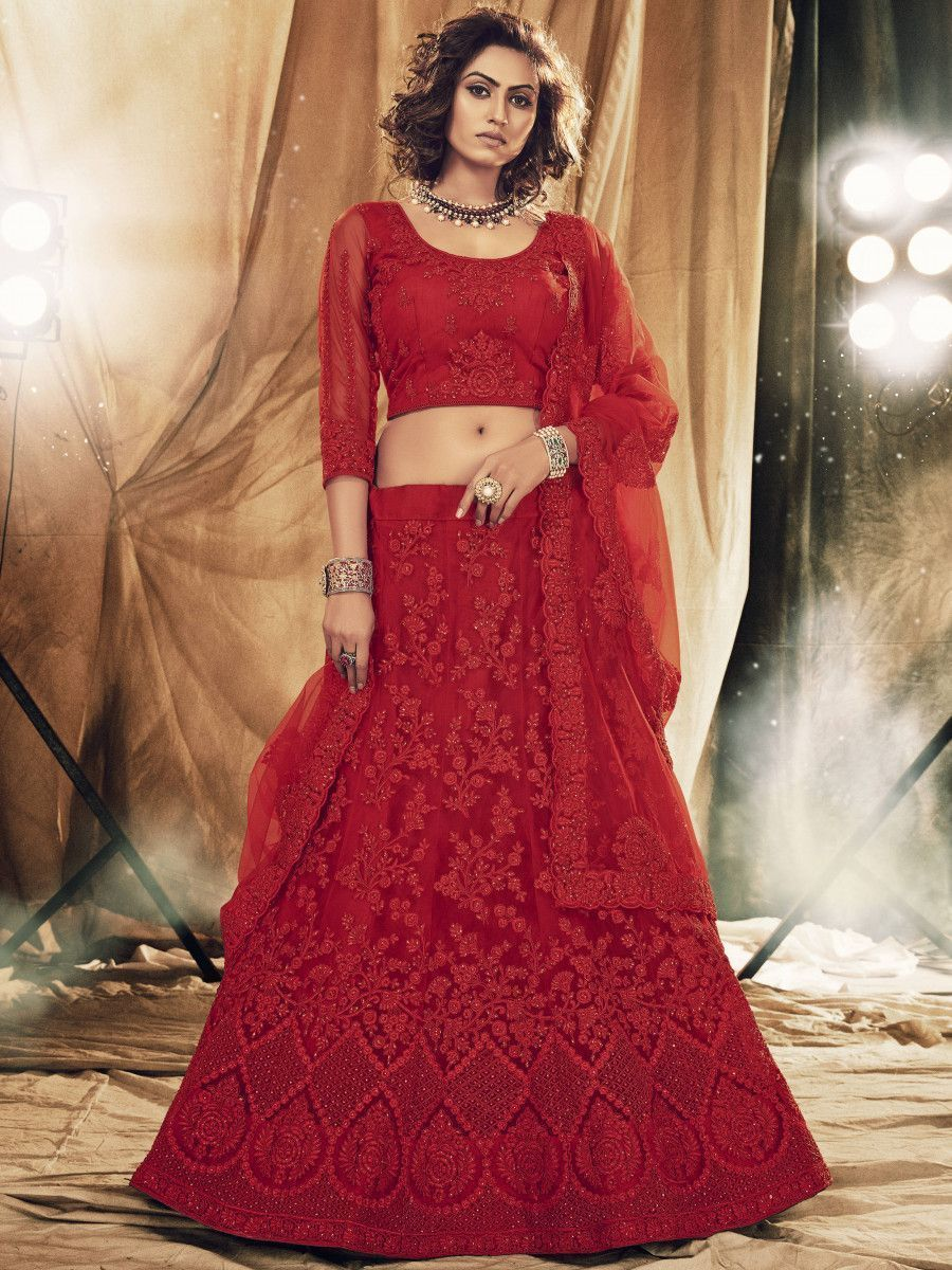 Red Floral Stone Embroidered Net Bridal Lehenga Choli
