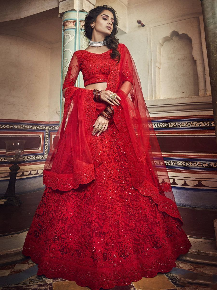 Red Zarkan Embroidered Party Wear Lehenga Choli