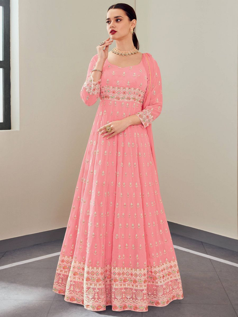 Pink Multi Thread Georgette Party Wear Gown With Dupatta