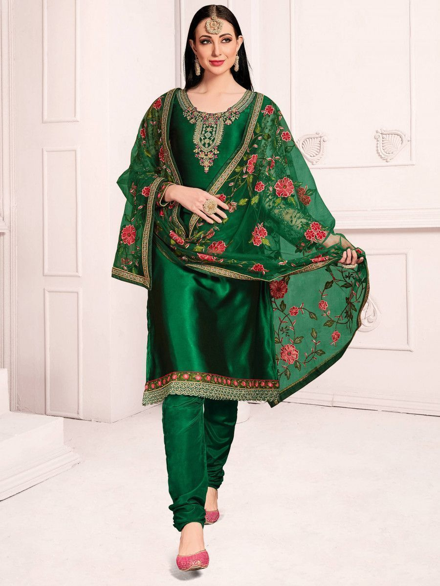 Green Floral Embroidered  Satin Wedding Wear Salwar Kameez