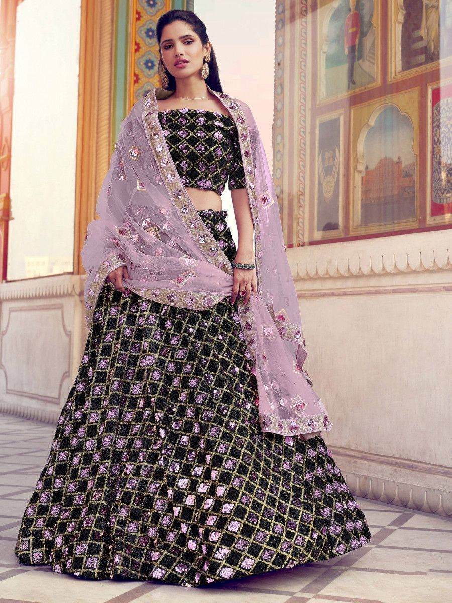 Purple-Black Sequins Fur Party Wear Lehenga Choli