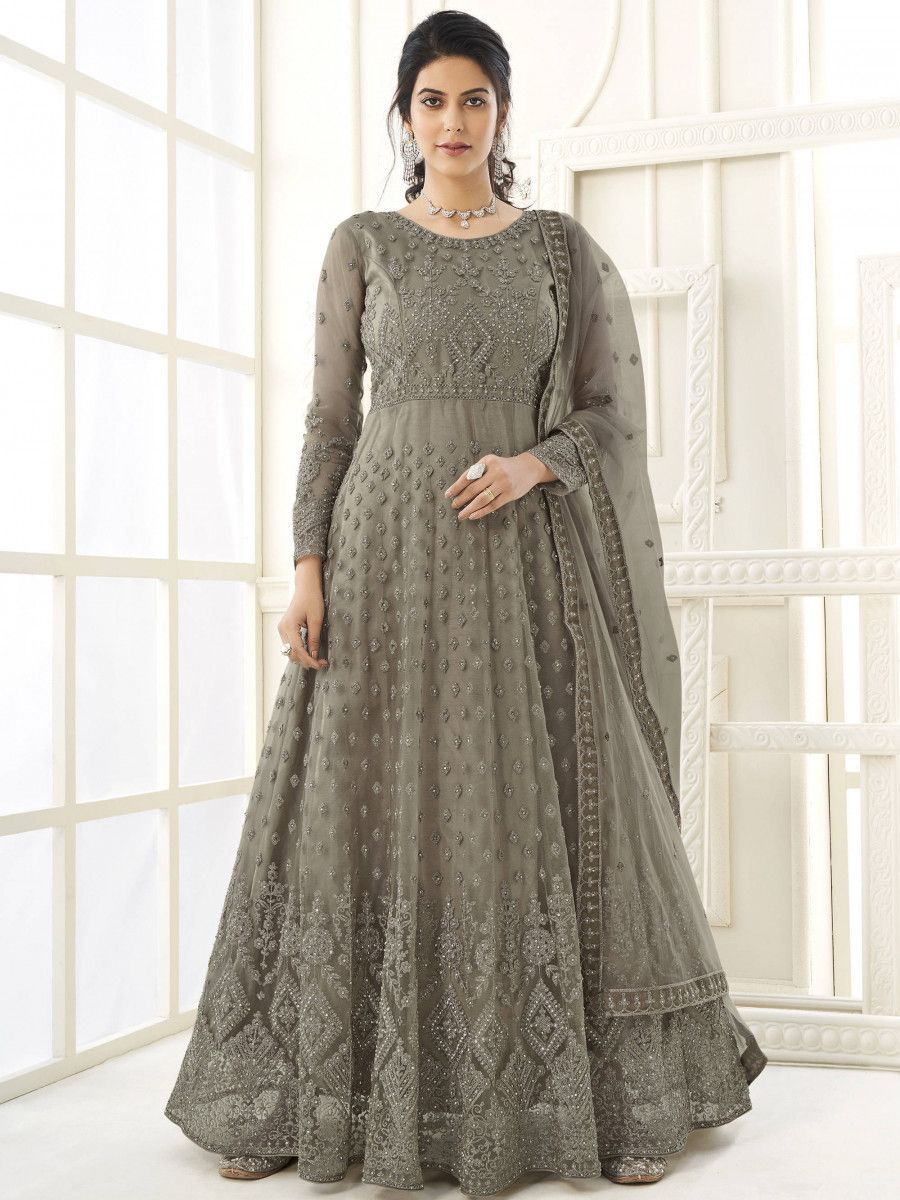 Sage Grey Thread Embroidery Net Party Wear Abaya Gown