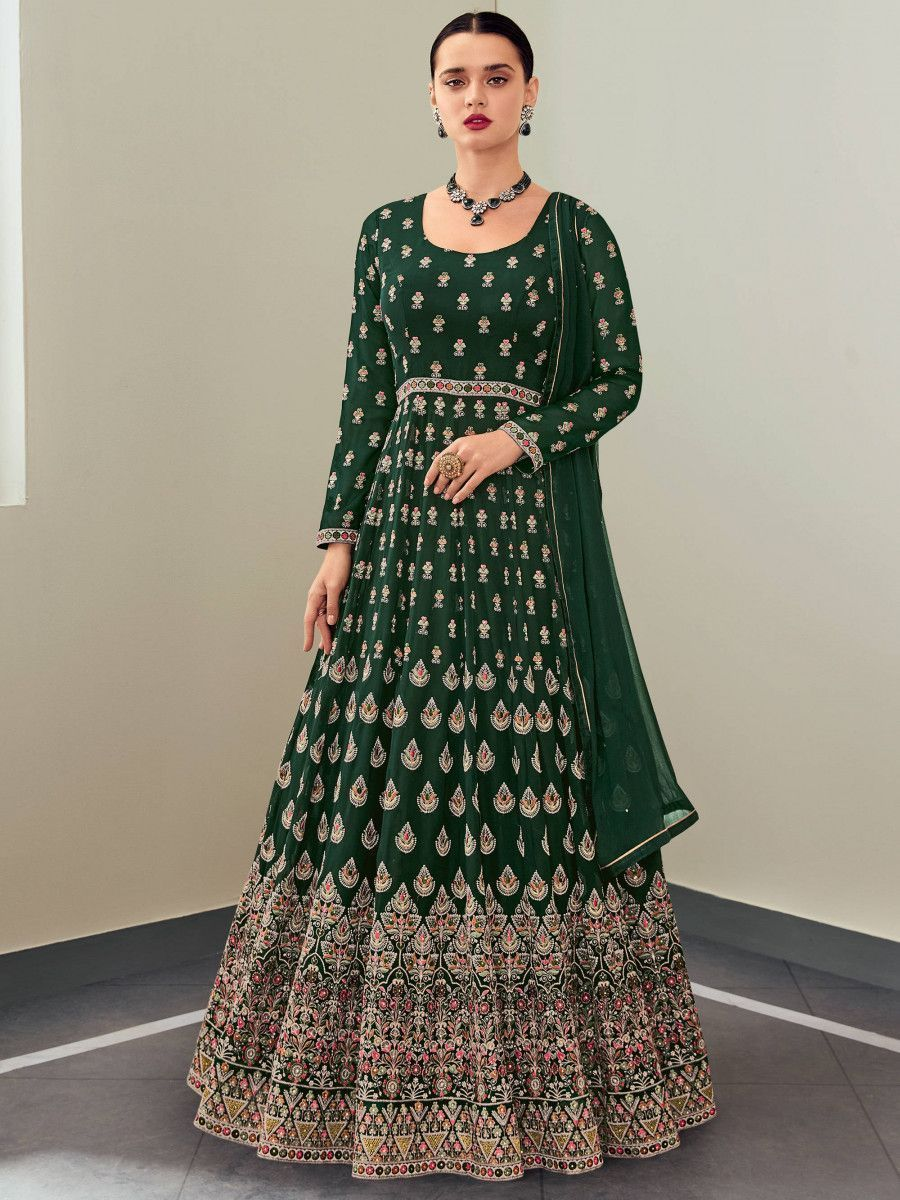 Teal Green Multi Thread Georgette Party Wear Gown With Dupatta