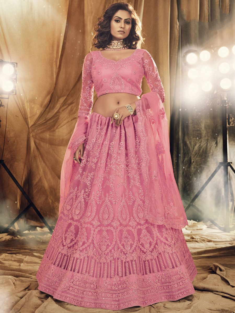 Pink Floral Stone Embroidered Net Bridal Lehenga Choli