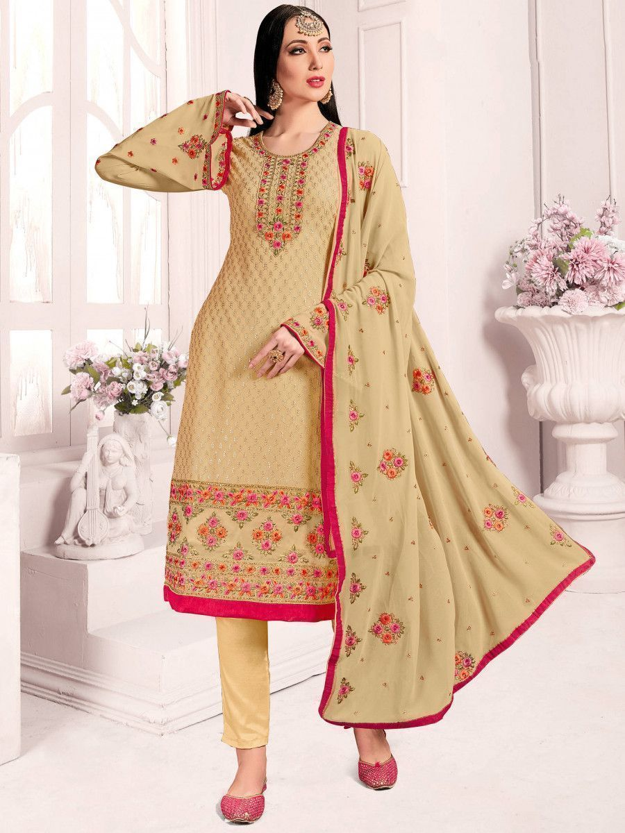 Cream Floral Embroidered Georgette Wedding Wear Salwar Kameez