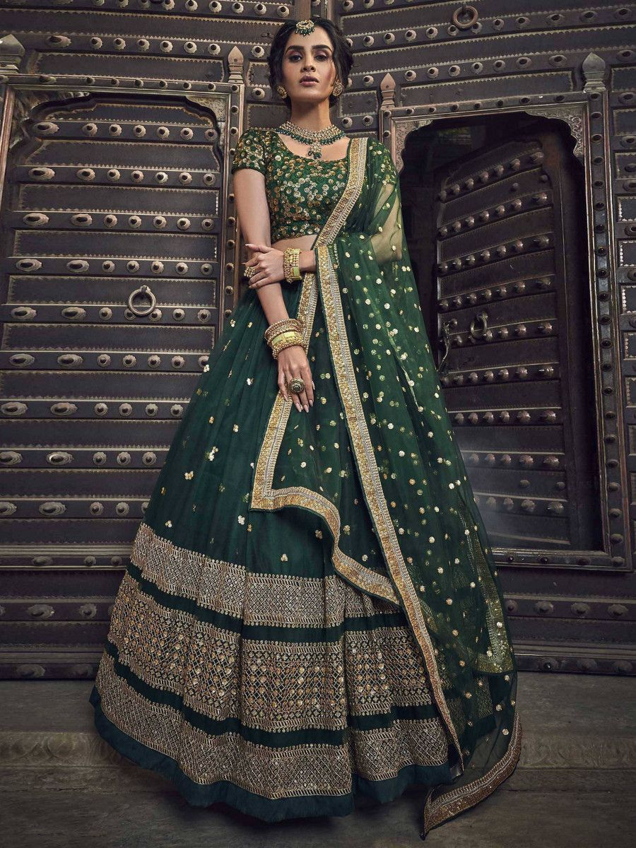 Bottle Green Flared Sequins Net Party Wear Lehenga Choli With Dupatta
