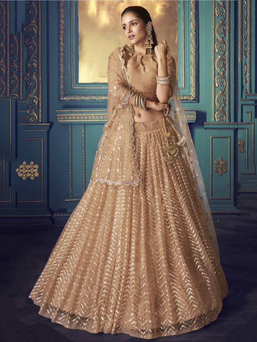 Beige Sequins Net Wedding Wear Lehenga Choli With Dupatta