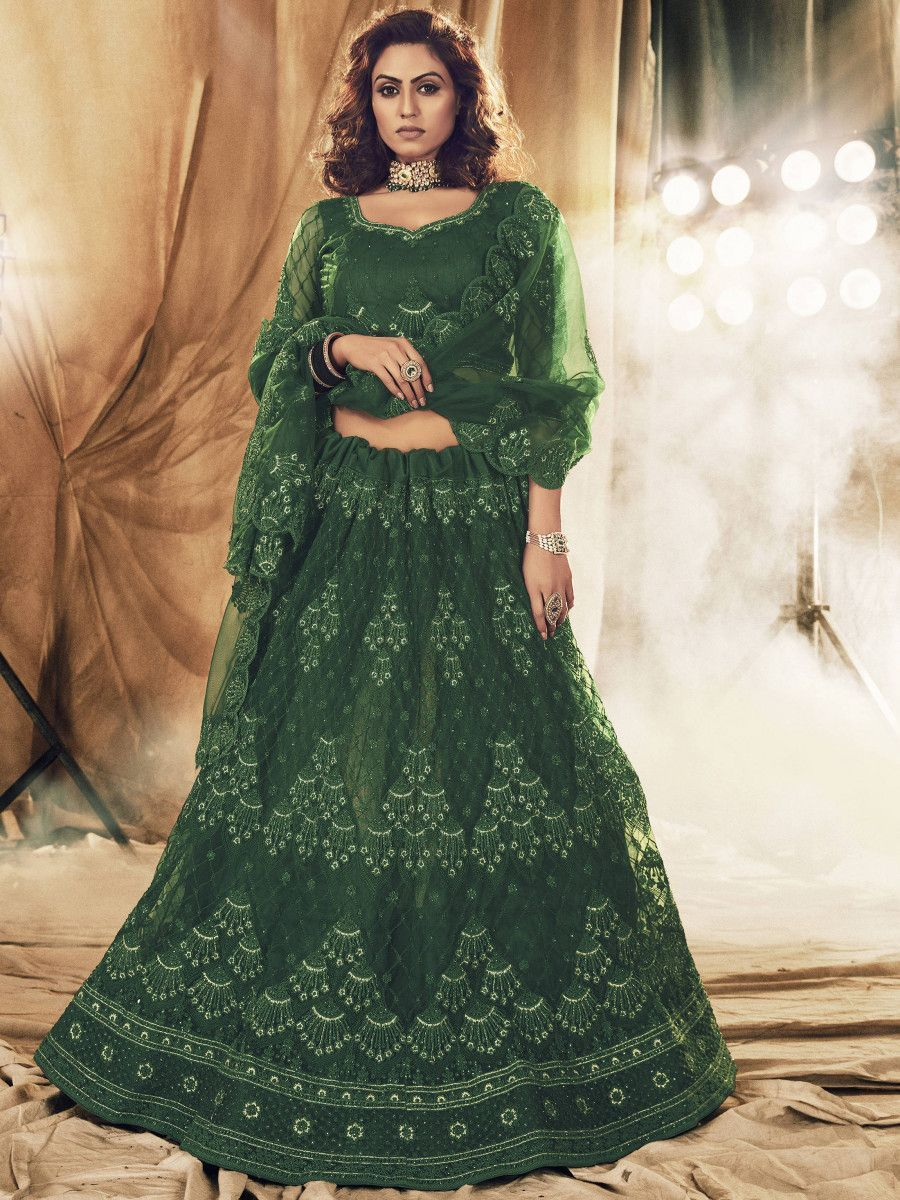 Green Floral Stone Embroidered Net Bridal Lehenga Choli