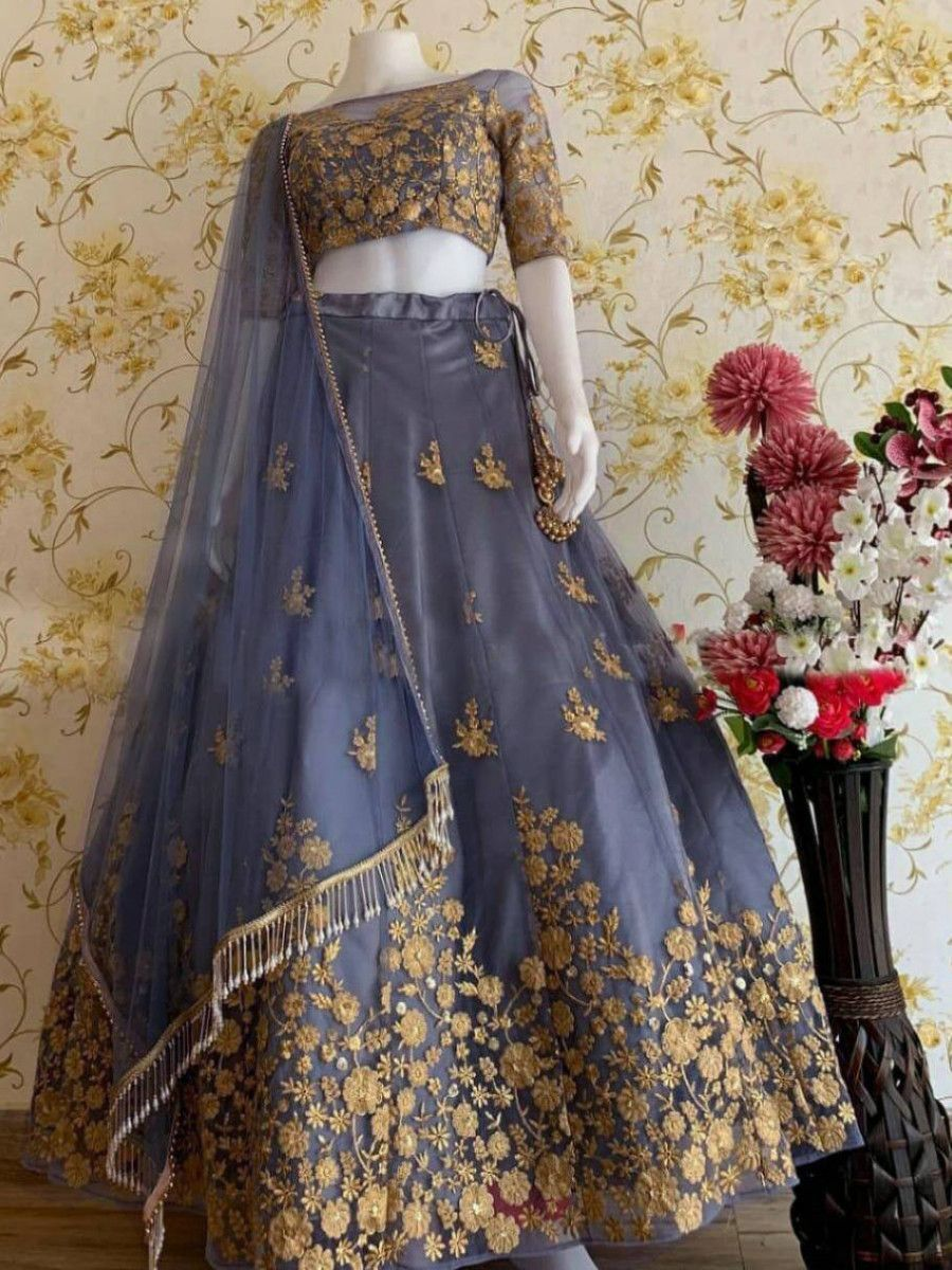 Grey Thread Worked Heavy Net Festival Wear Lehenga Choli