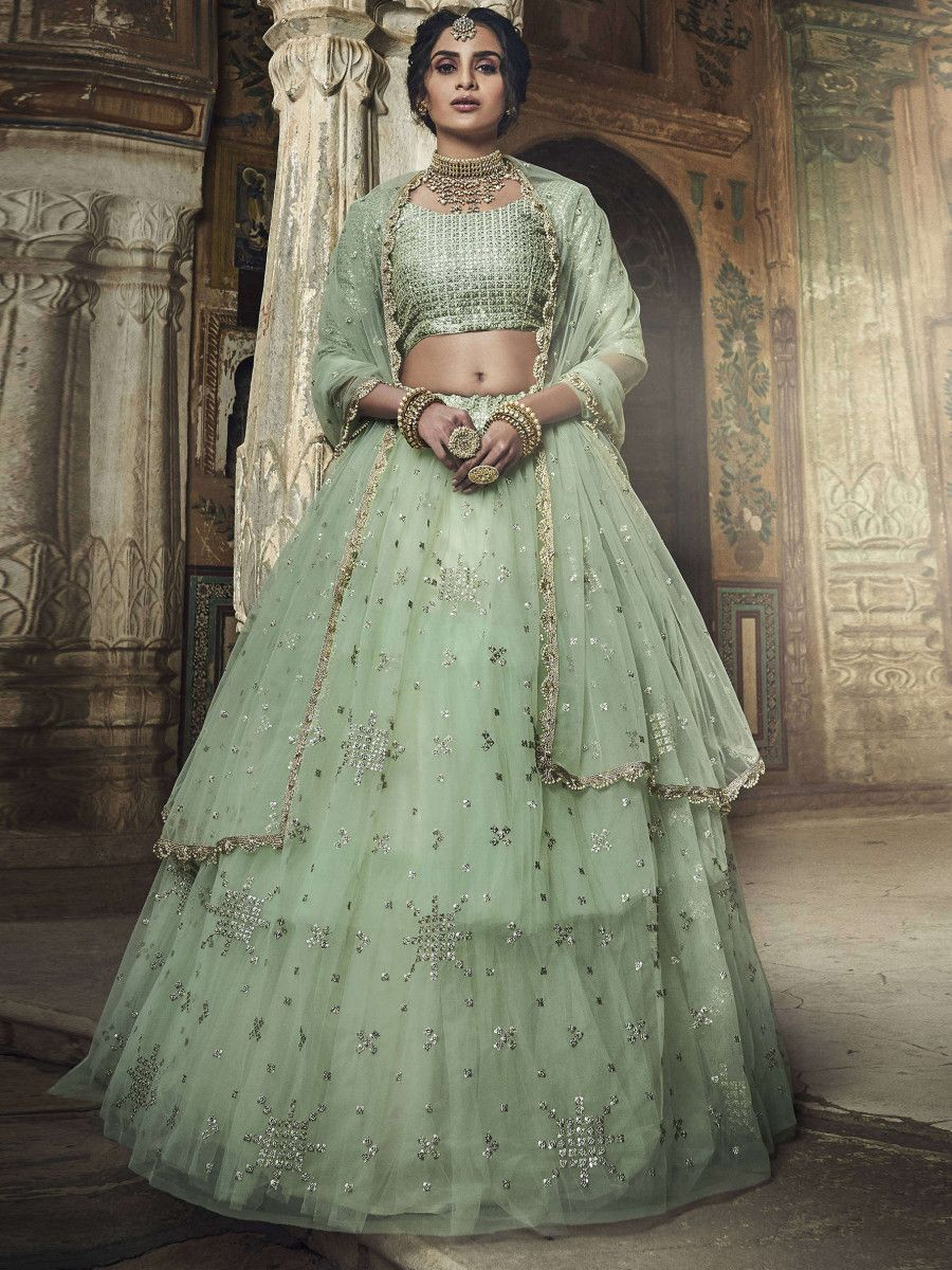 Pista Green Sequins Soft Net Party Wear Lehenga Choli With Dupatta