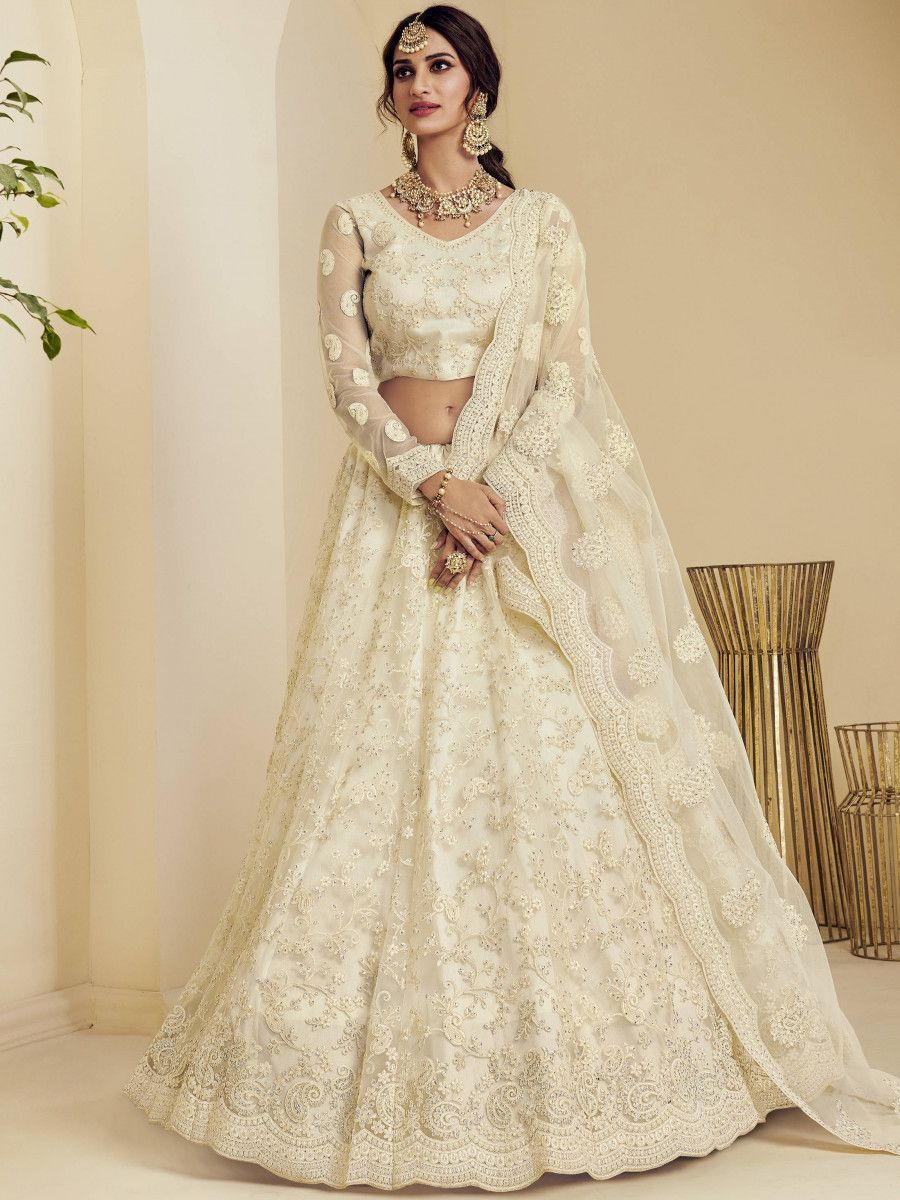 Off White Coding Embroidered Net Wedding Wear Lehenga Choli