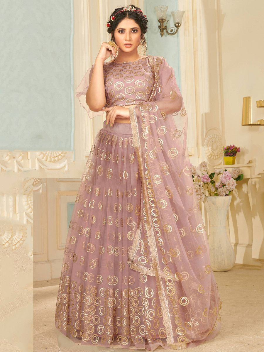 Peach Sequins Net Party Wear Lehenga Choli