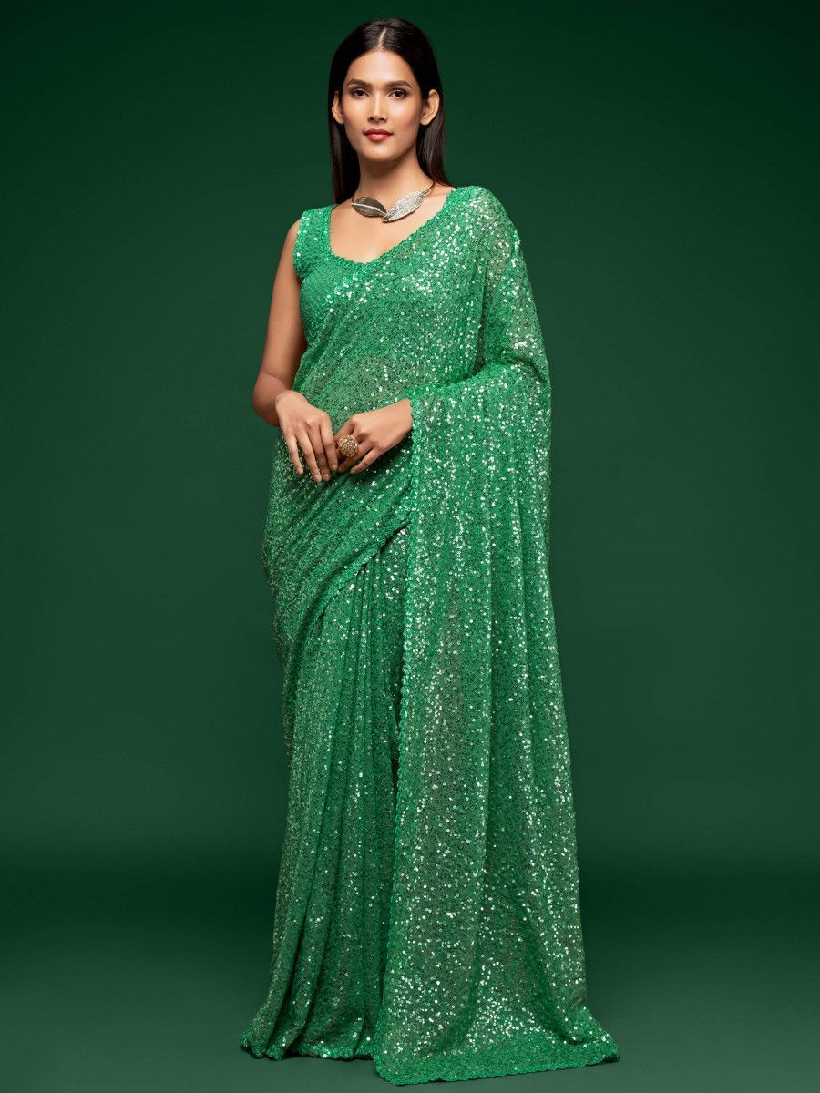Green Fully Sequined Georgette Party Wear Saree