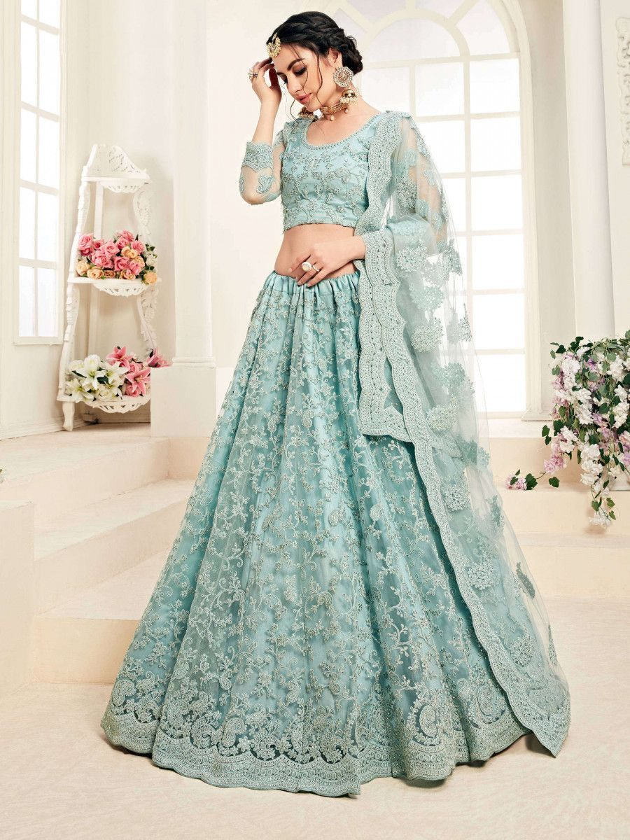 Aqua Blue Embroidered Net Wedding Wear Lehenga Choli