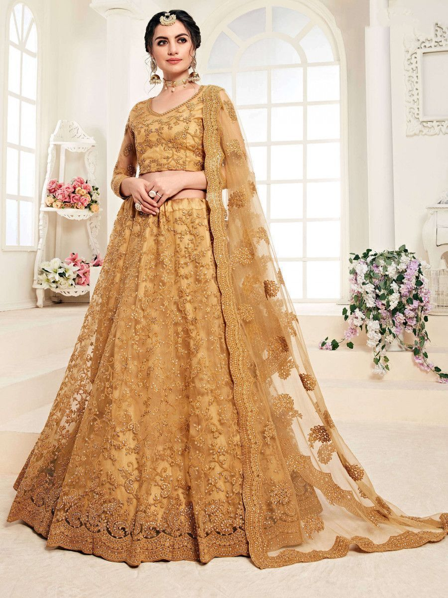 Mustard Yellow Embroidered Net Wedding Wear Lehenga Choli