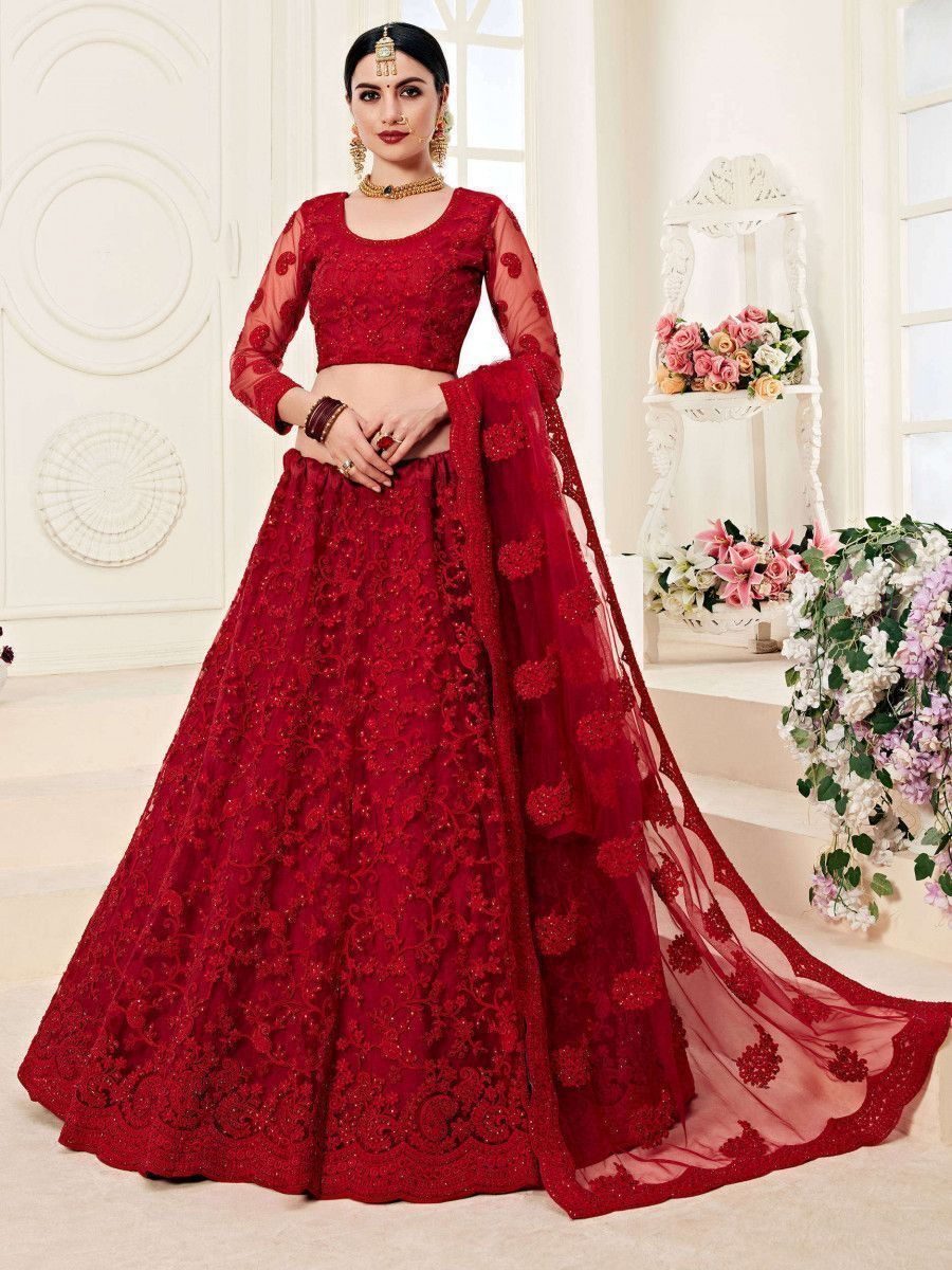 Red Coding Embroidered Net Wedding Wear Lehenga Choli
