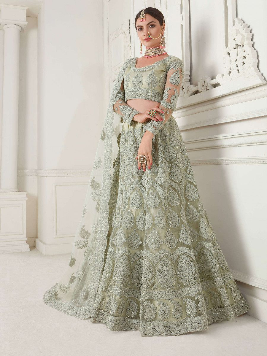 Mint Green Embroidered Net Wedding Wear Lehenga Choli