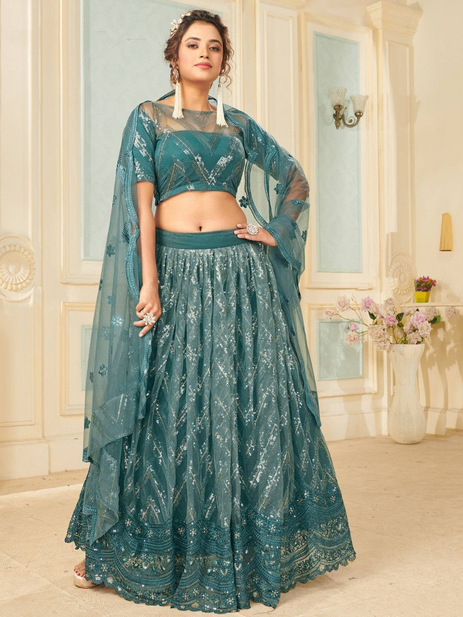 Grey Sequins Net Party Wear Lehenga Choli With Dupatta