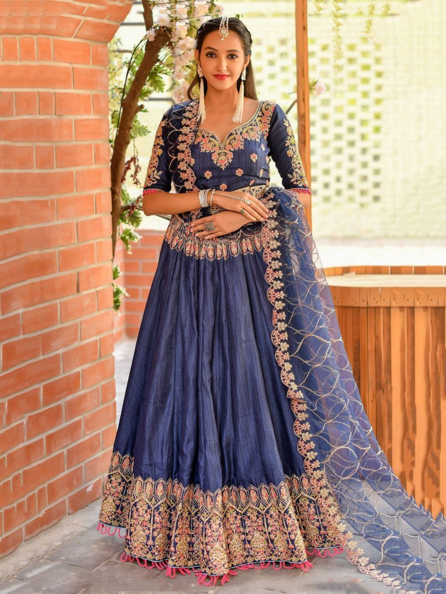 Blue Resham Work Silk Wedding Lehenga Choli With Dupatta