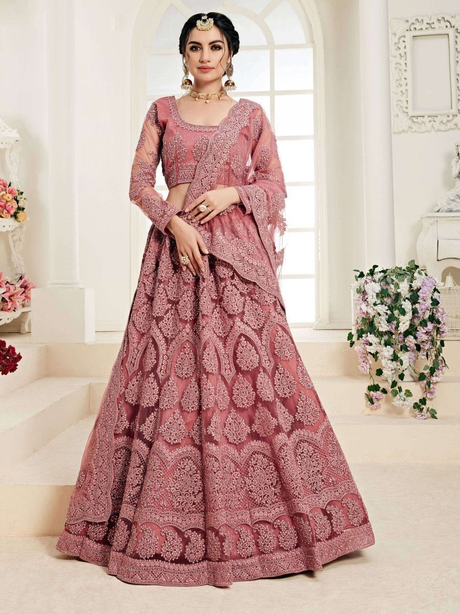 Rose Pink Embroidered Net Wedding Wear Lehenga Choli