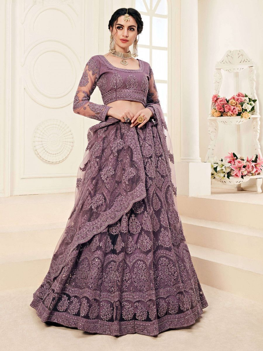 Violet Embroidered Net Wedding Wear Lehenga Choli