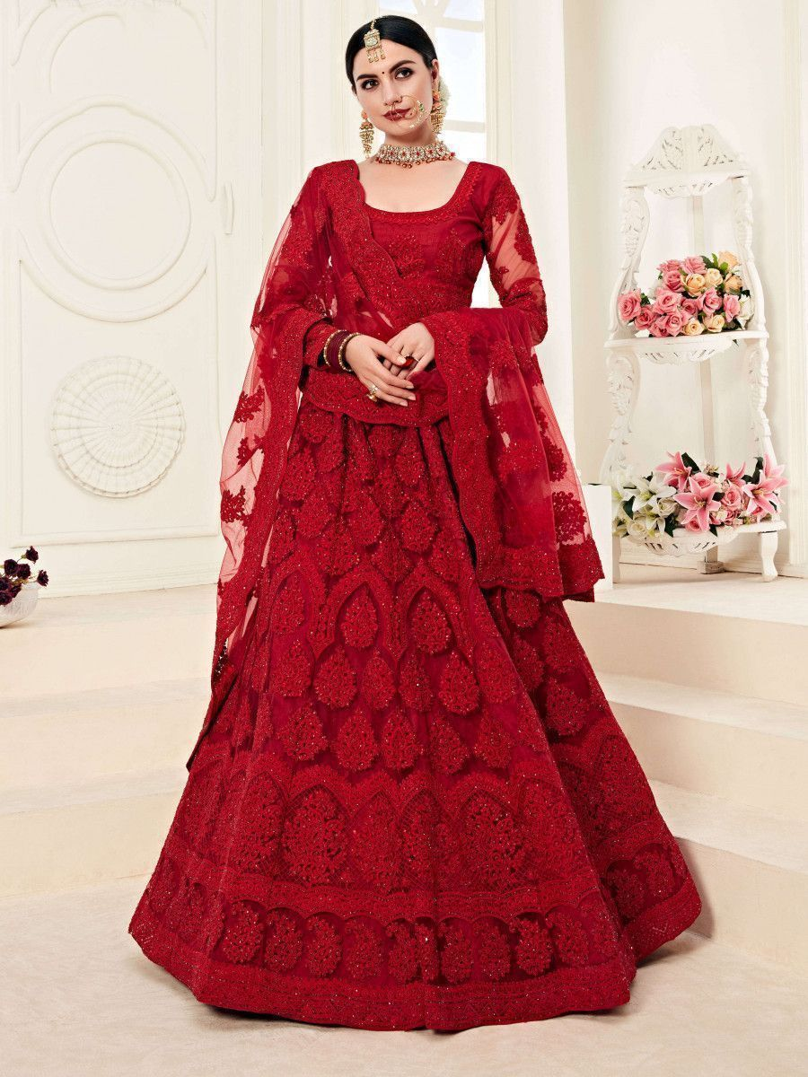 Red Coding Work Embroidered Net Bridal Lehenga Choli