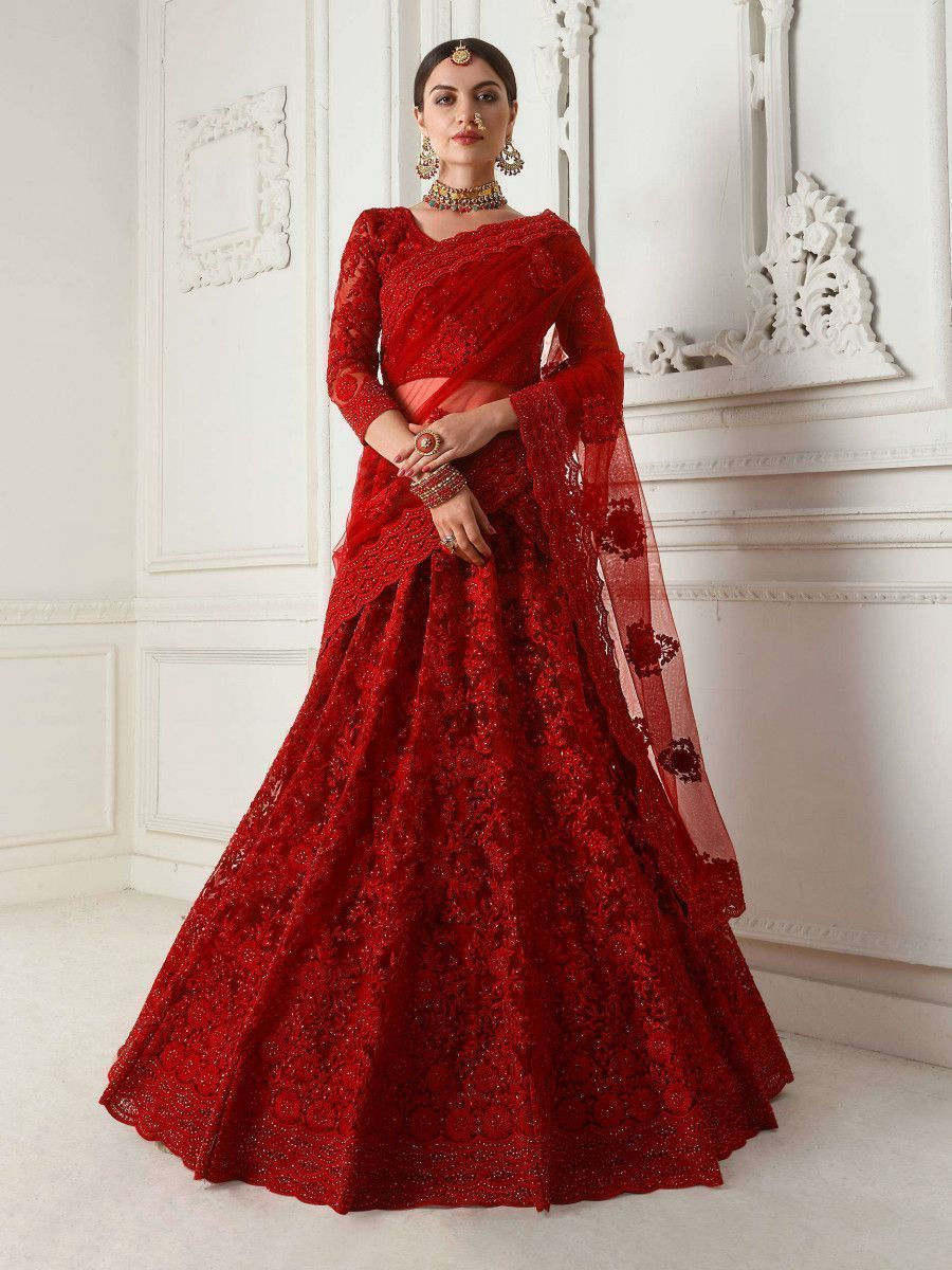 Red Embroidered Net Wedding Wear Lehenga Choli