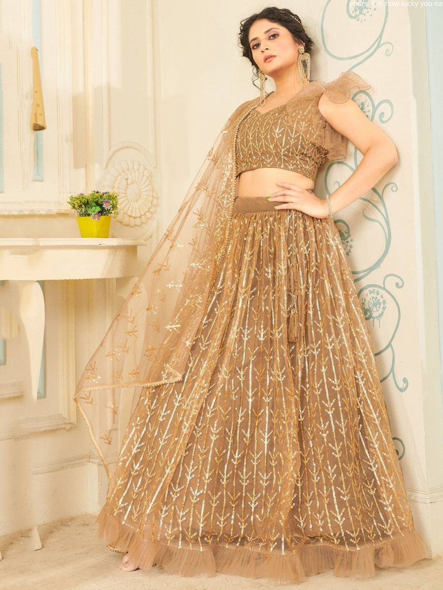 Beige Sequins Soft Net Party Wear Lehenga Choli