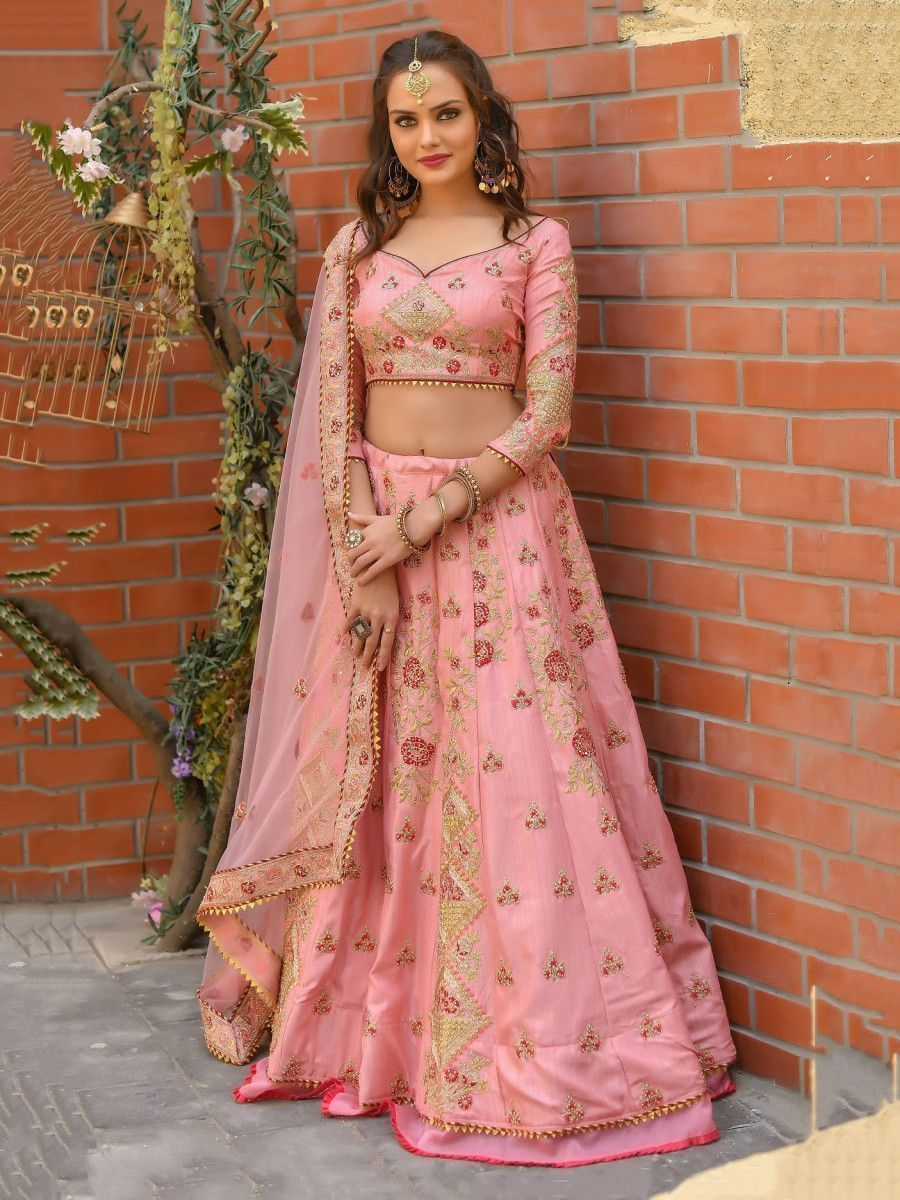 Baby Pink Resham Work Silk Wedding Lehenga Choli With Dupatta