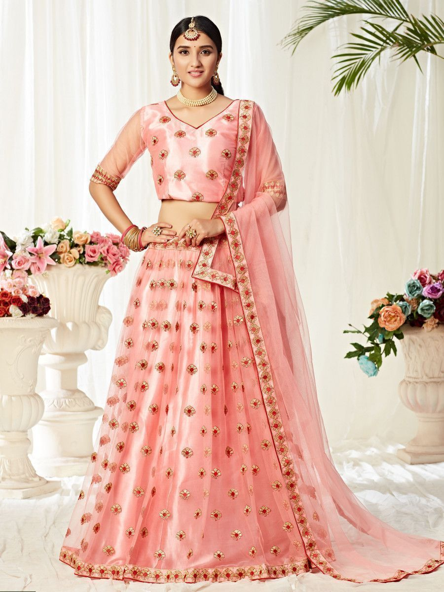 Peach Embroidery Work Net Party Wear Lehenga Choli