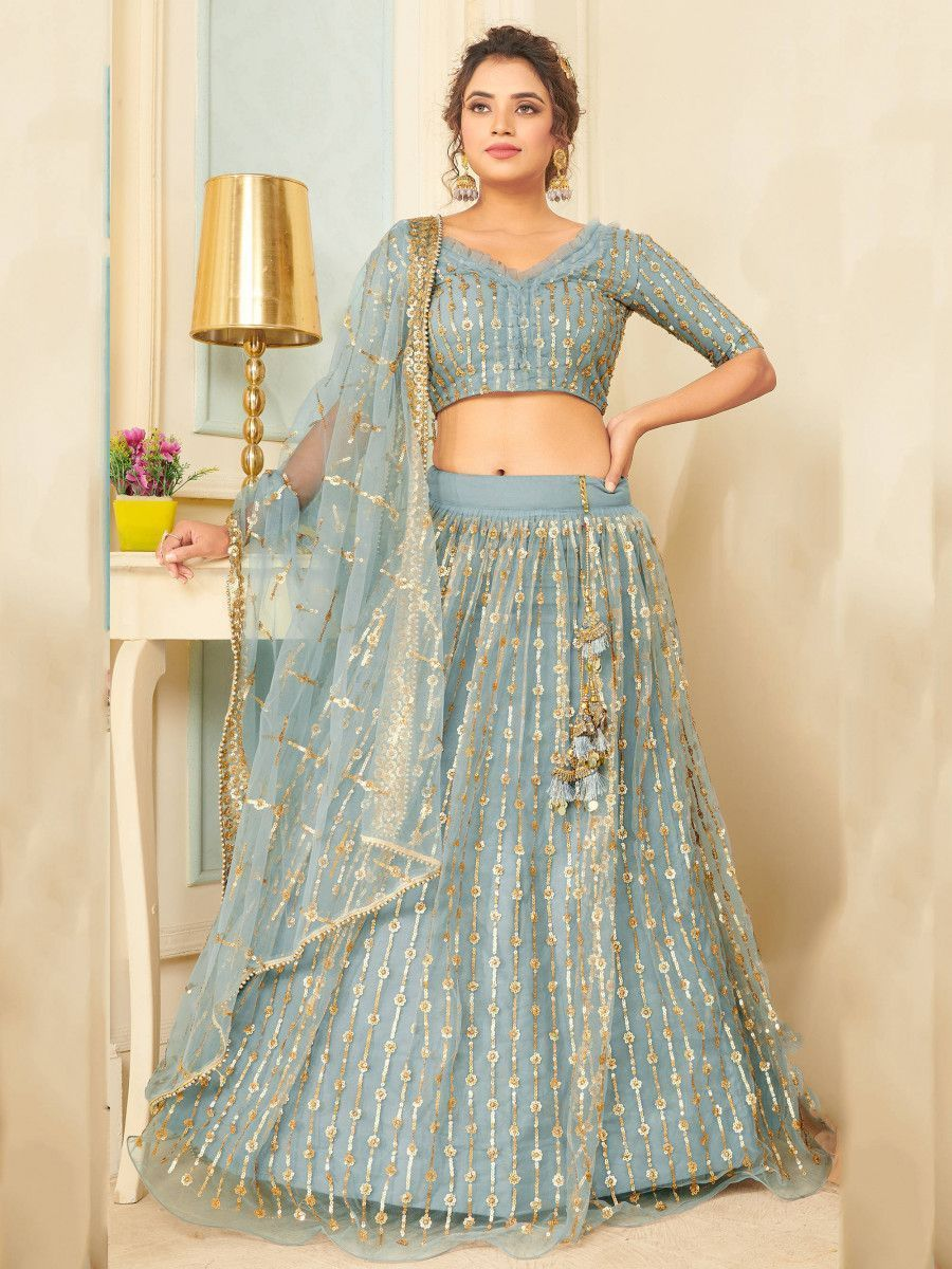 Sea Blue Sequins Soft Net Party Wear Lehenga Choli
