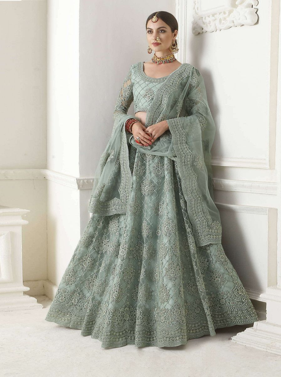 Turquoise Embroidered Net Wedding Wear Lehenga Choli
