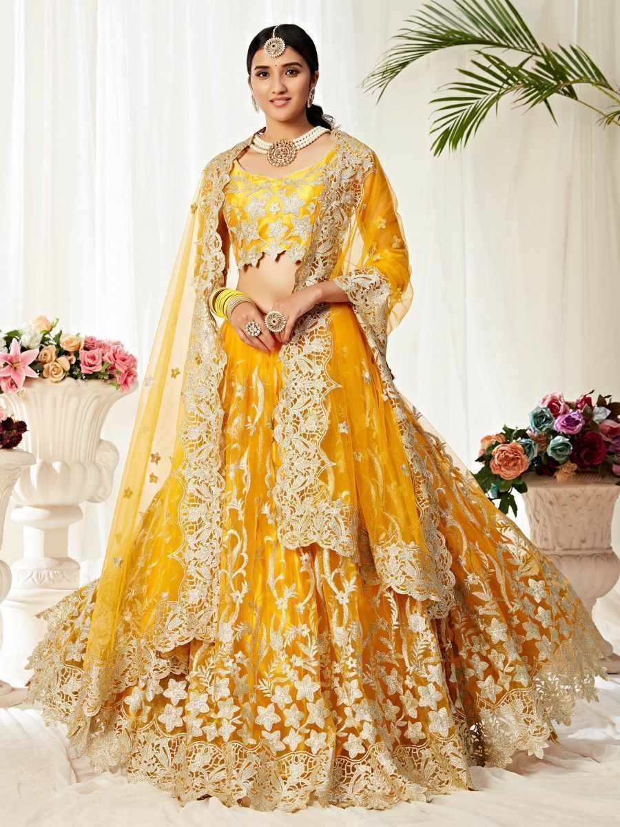 Yellow Zari Embroidered Work Net Party Wear Lehenga Choli