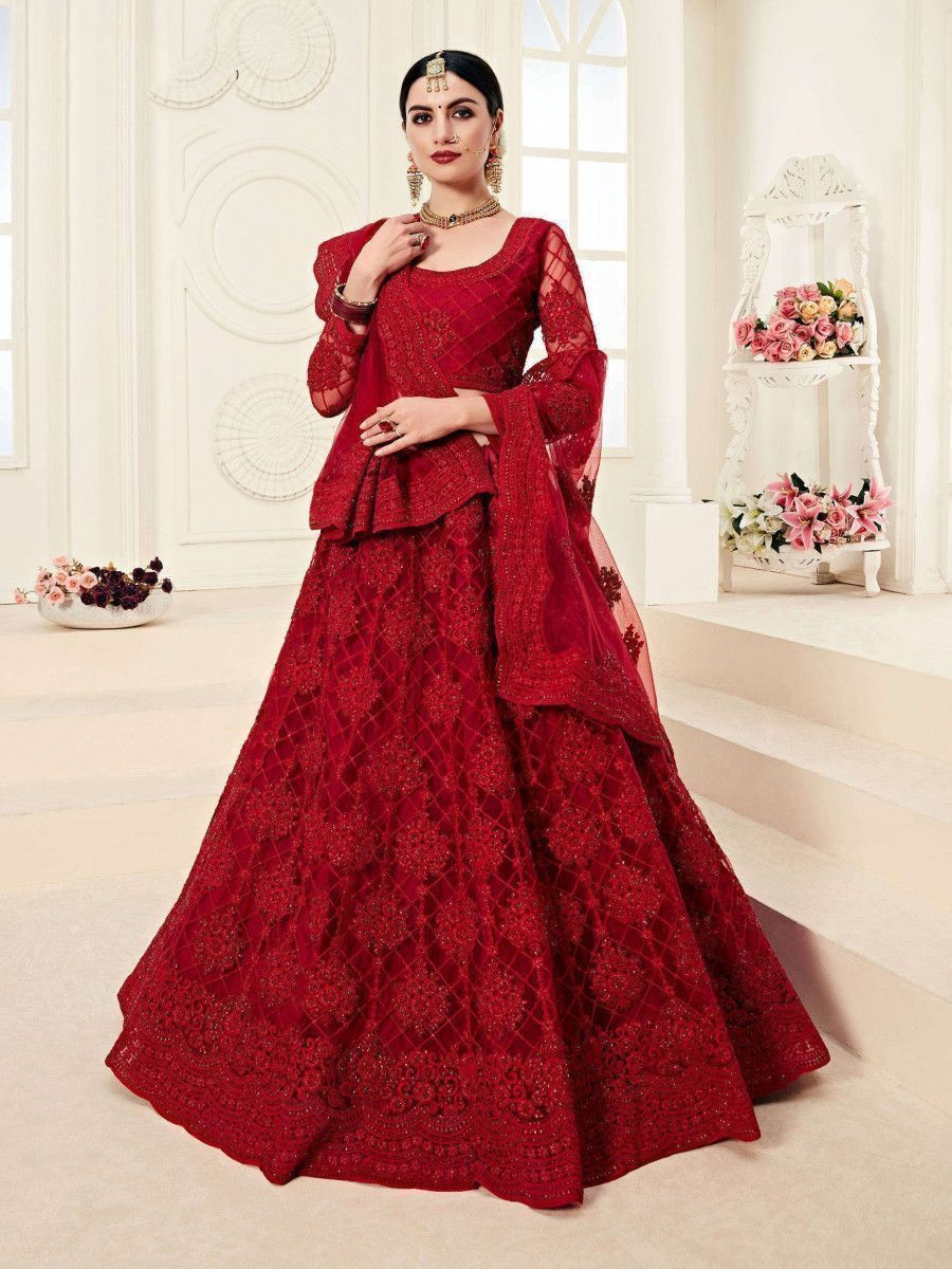 Red Embroidered Net Bridal Wear Lehenga Choli