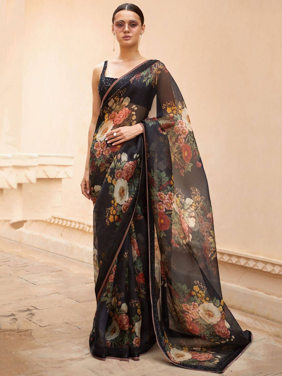 Sabyasachi Black Floral Organza Party Wear Saree