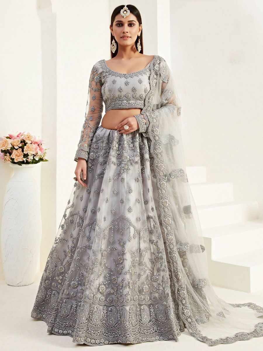 Grey Heavy Thread Coding Work Net Bridal Lehenga Choli