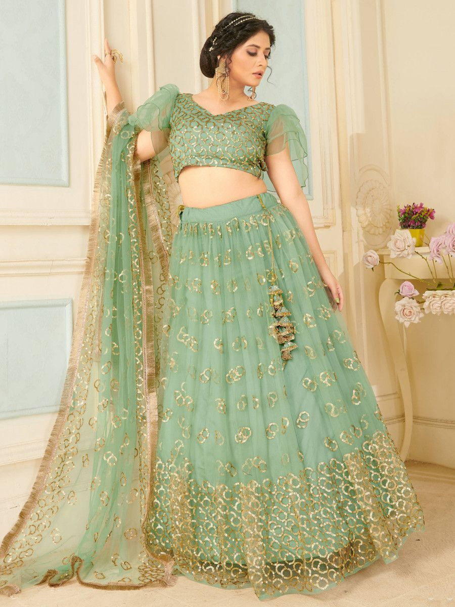 Sea Green Sequins Soft Net Party Wear Lehenga Choli