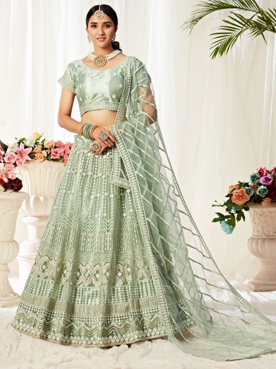 Green Mirror Work Net Party Wear Lehenga Choli