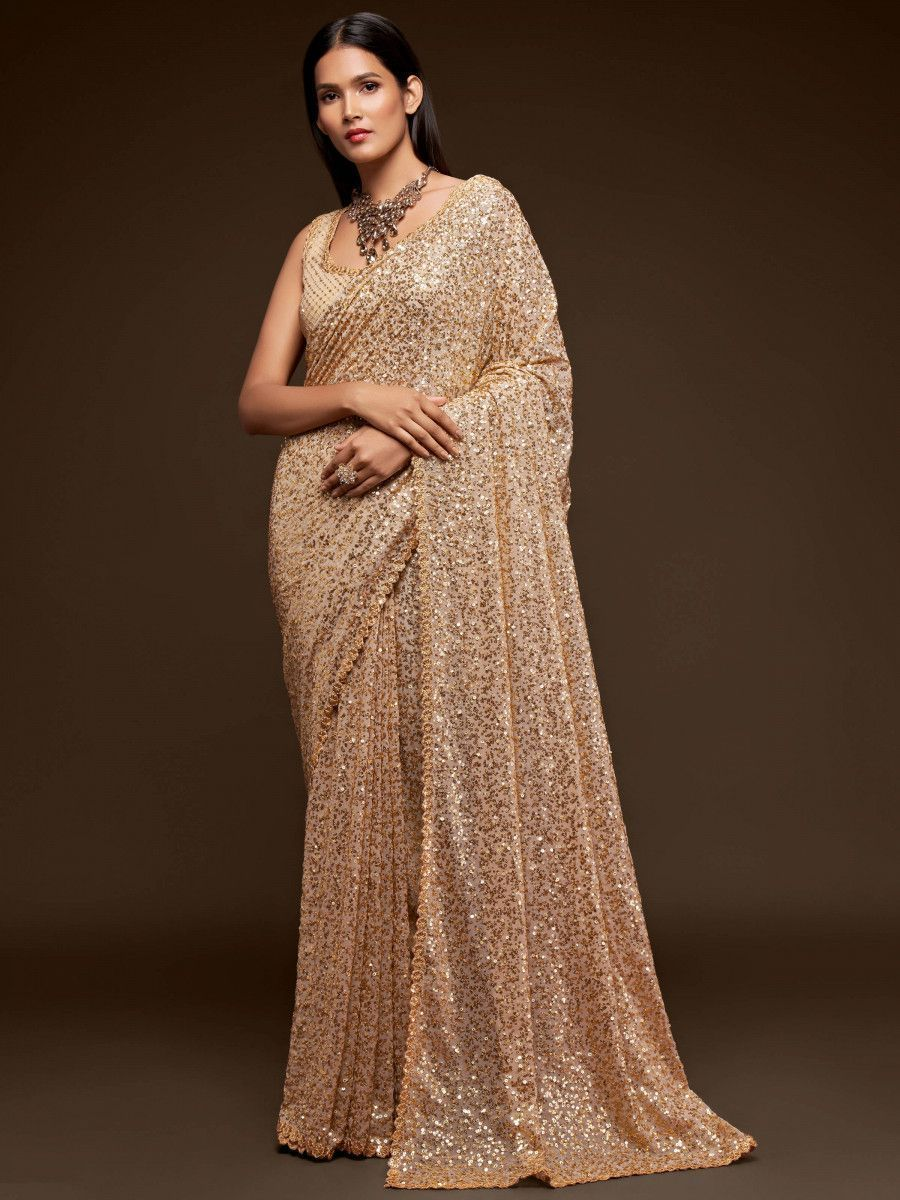 Ivory Fully Sequined Georgette Party Wear Saree