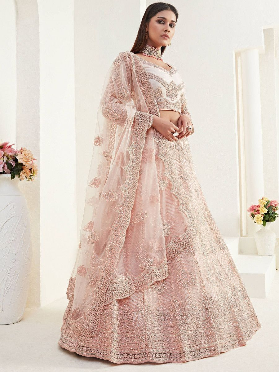 Peach Heavy Thread Coding Work Net Bridal Lehenga Choli