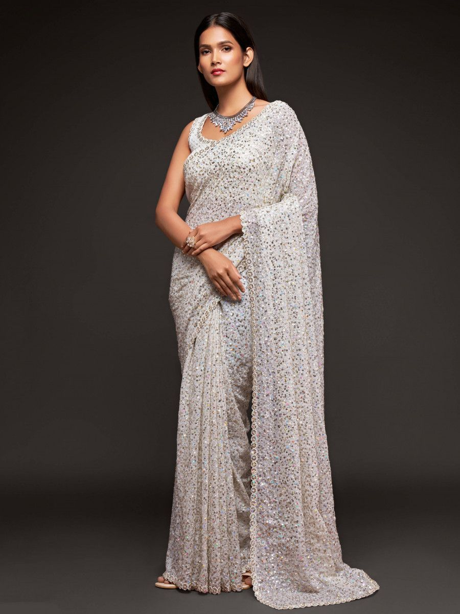 Pearl White Fully Sequined Georgette Party Wear Saree