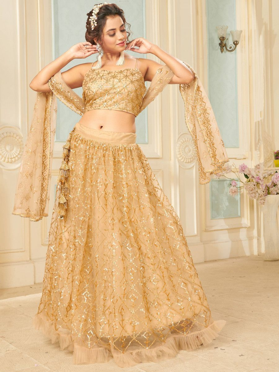 Golden Sequins Soft Net Party Wear Lehenga Choli