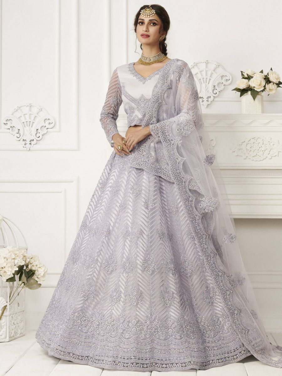 Lavender Heavy Thread Coding Work Net Bridal Lehenga Choli