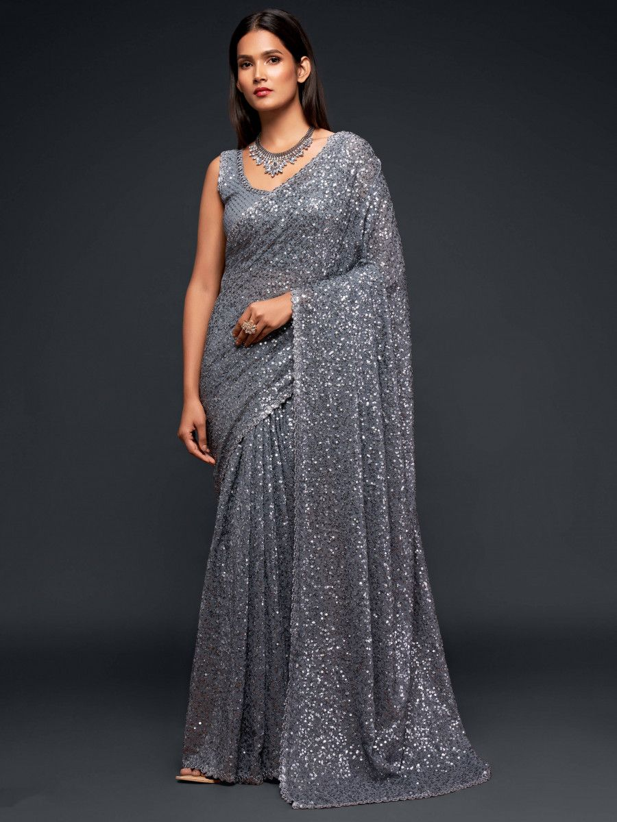 Grey Fully Sequined Georgette Party Wear Saree