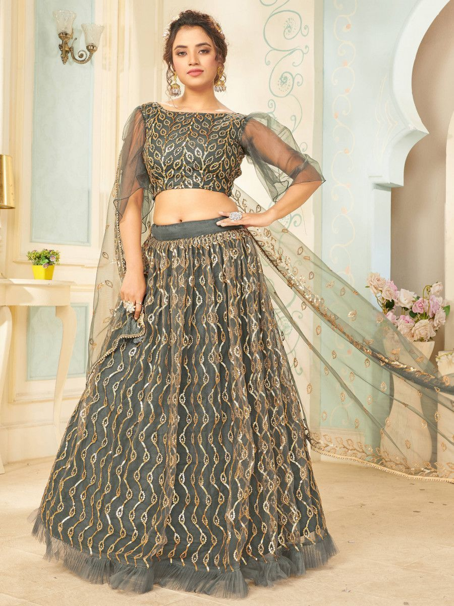 Grey Sequins Net Party Wear Lehenga Choli