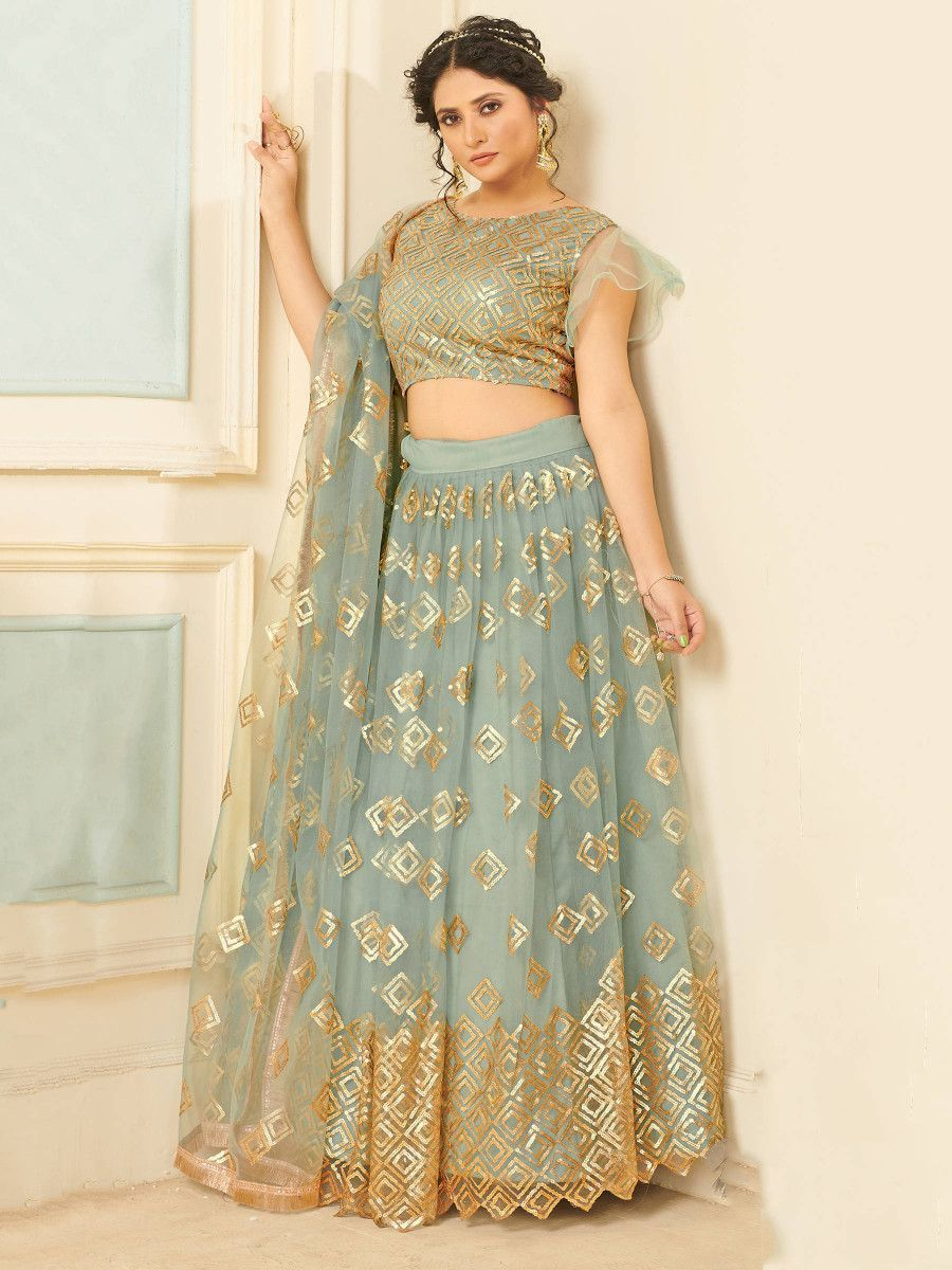 Light Grey Sequins Net Party Wear Lehenga Choli