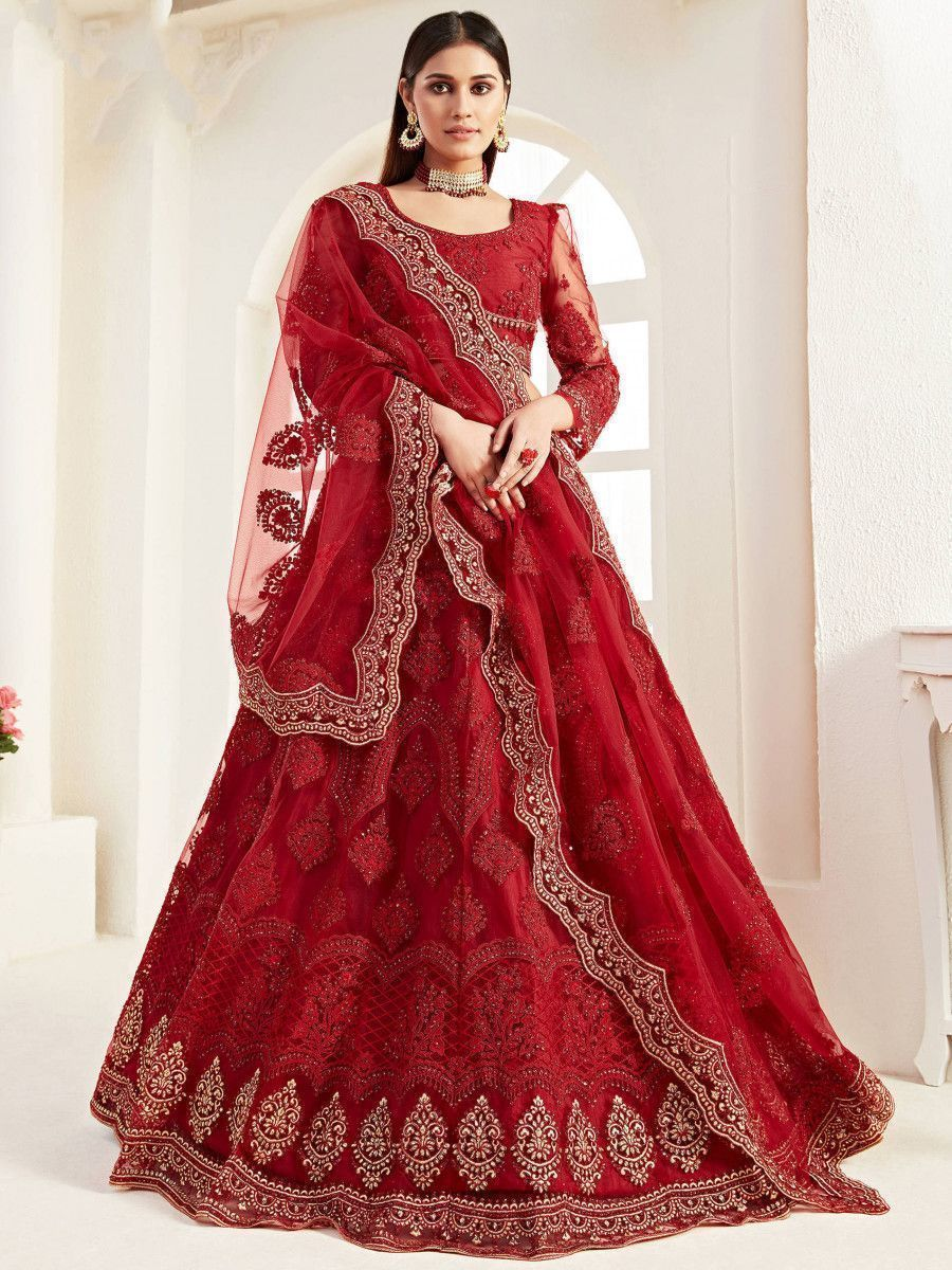 Red Zari Embroidered Coding Net Bridal Wear Lehenga Choli