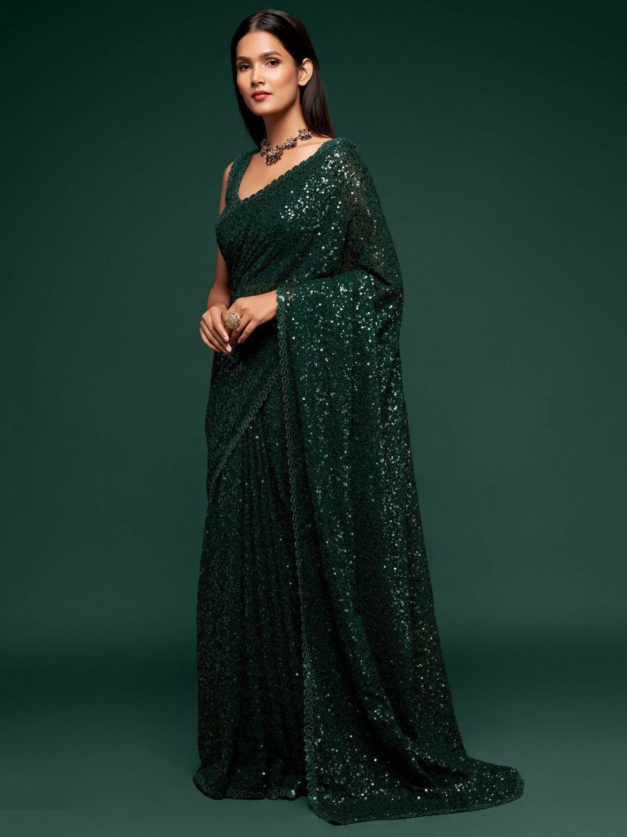 Bottle Green Fully Sequined Georgette Party Wear Saree
