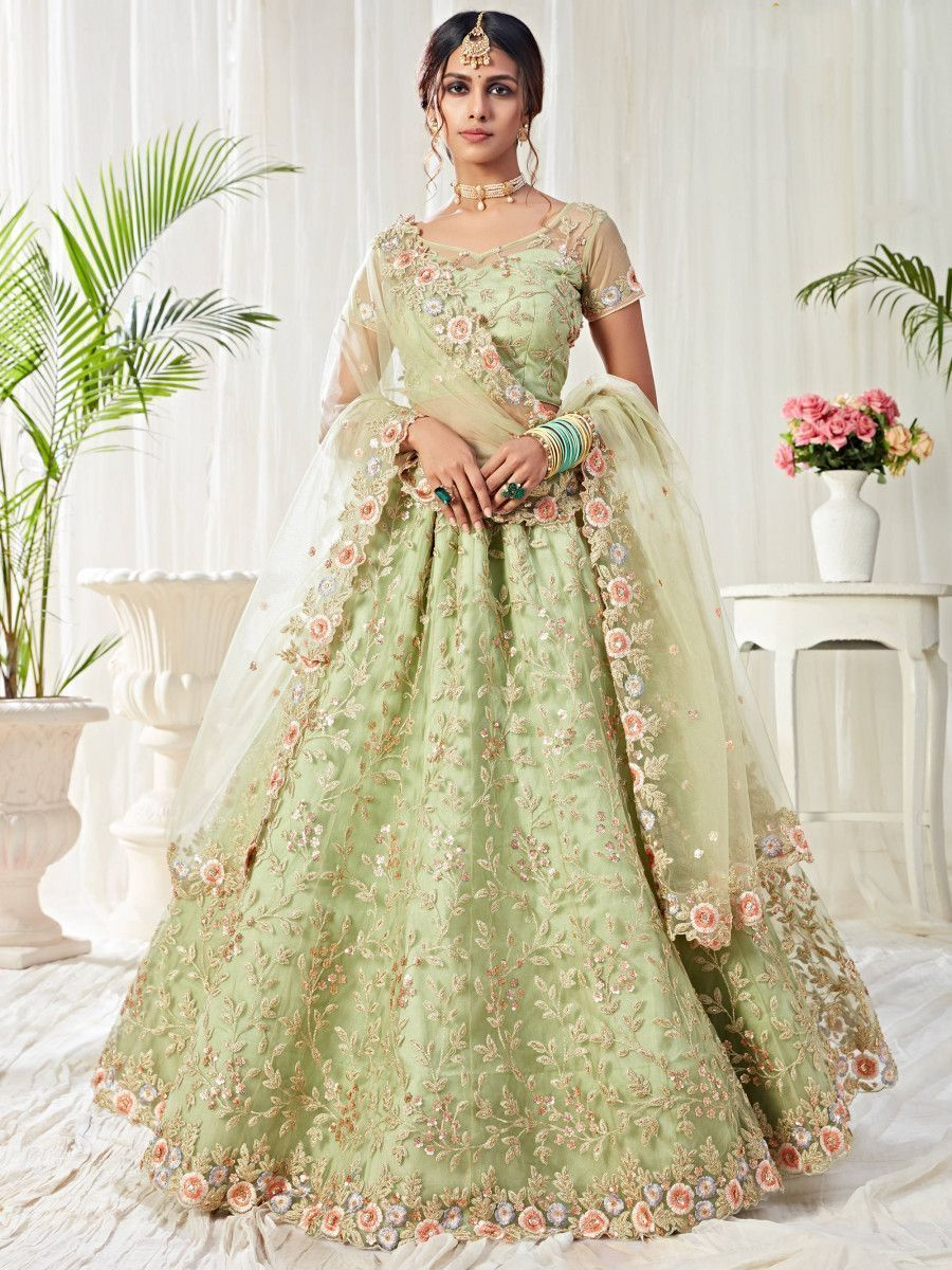 Pista Green Thread Net Bridal Wear Lehenga Choli